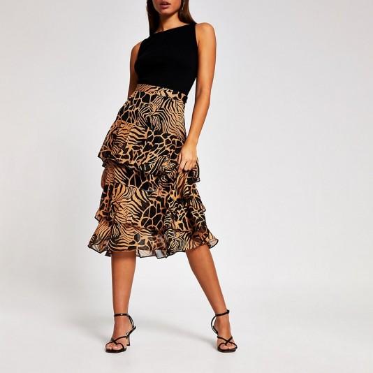River Island Brown animal print tiered frill midi skirt