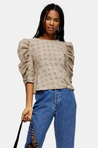 TOPSHOP Brown Check Tie Back Drama Blouse – puff sleeved blouses