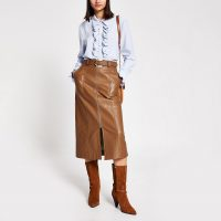River Island Brown faux leather zip front midi skirt