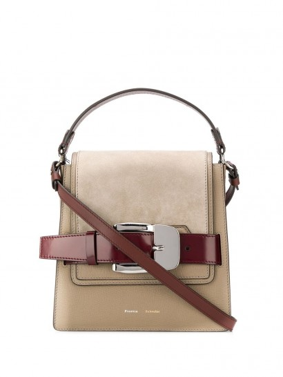 PROENZA SCHOULER buckle trapeze bag in light taupe | chic top handle bags