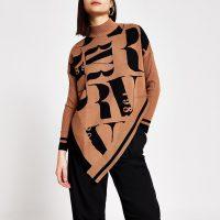 River Island Brown RI printed knitted cape jumper | modern asymmetric knits