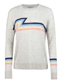 OLIVER BONAS Bruno Stripe Grey Knitted Jumper | casual crew neck
