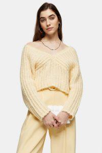 Topshop Buttermilk Knitted V Fluffy Crop Jumper