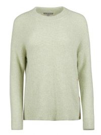 OLIVER BONAS Button Side Pistachio Knitted Jumper | green crew neck