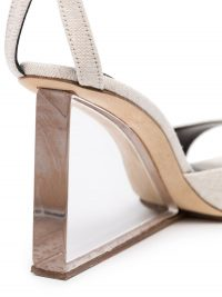 BY FAR Dima 95 perspex wedge sandals in stone-grey