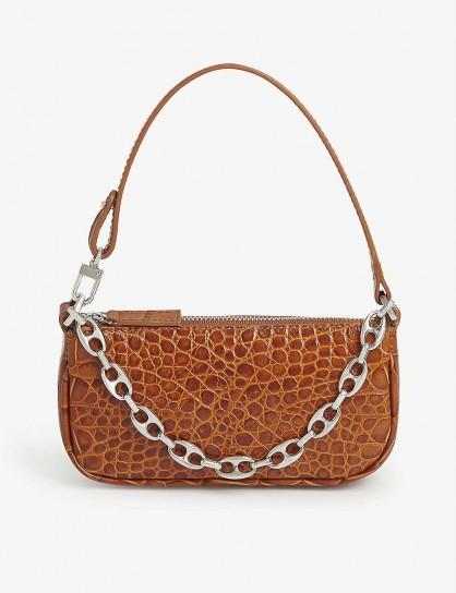 BY FAR Mini Rachel croc-embossed leather shoulder bag in tan