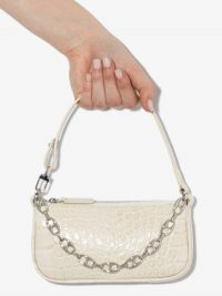 BY FAR White Mini Rachel Mock Croc Leather Shoulder Bag ~ small chain embellished bags