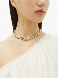 LAUREN RUBINSKI Cable-chain gold necklace – luxe choker necklaces