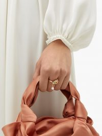 CHLOÉ Callie faux pearl-drop ring in gold-tone brass
