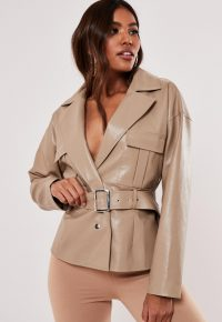 MISSGUIDED camel faux leather belted utility jacket