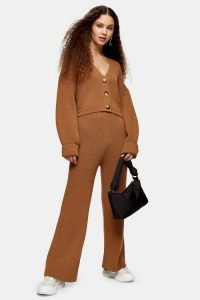 TOPSHOP Camel Knitted Cardigan And Trousers Set