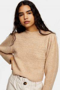 Topshop Camel Super Soft Knitted Airtex Sleeve Jumper | feminine knitwear