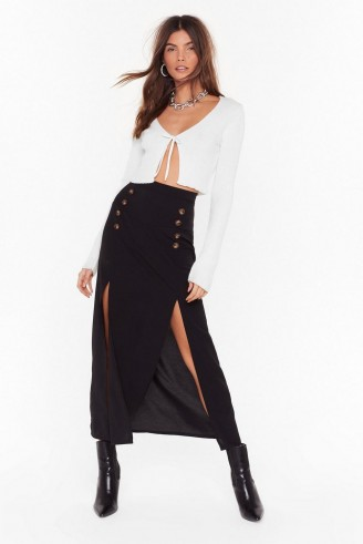 Nasty Gal Can't We Just Slit Down Midi Skirt in Black