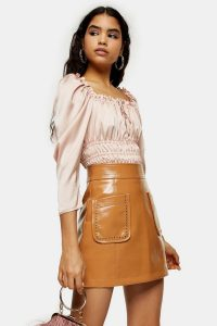 TOPSHOP Caramel Brown Vinyl Stud Mini Skirt – classic A-line skirts