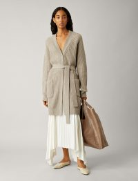 JOSEPH Cardigan Cashmere Luxe Knit in Quartz / belted longline cardigans