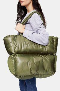 TOPSHOP CASA Khaki Puffer Tote Bag – large dark green bags