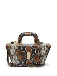 HILLIER BARTLEY Cassette black and brown python-effect leather bag