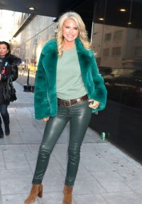 Christie Brinkley beautiful in green leather skinnies, tee and fluffy jacket, out in NYC, 22 Jan 2020 – celebrity outfits