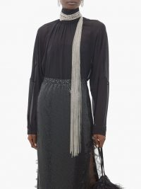 CHRISTOPHER KANE Chain-embellished silk-georgette blouse in black