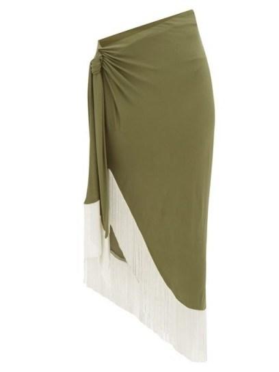 BALMAIN Chain-fringed wrap jersey skirt in green - flipped