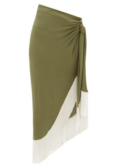 BALMAIN Chain-fringed wrap jersey skirt in green