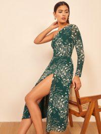 Reformation Chance Dress Lake – green floral one shoulder dresses