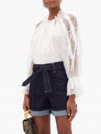 CHLOÉ White chantilly lace top ~ sheer sleeve blouse