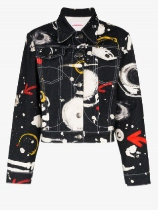 Charles Jeffrey Loverboy Asteroids Print Denim Jacket in black ~ celestial prints - flipped