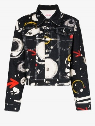 Charles Jeffrey Loverboy Asteroids Print Denim Jacket in black ~ celestial prints
