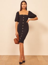 REFORMATION Charlize Dress in black ~ glamorous vintage look clothing ~ lbd