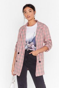 NASTY GAL Check Her Out Double Breasted Blazer – checked jackets