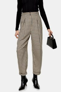 Topshop Check Ovoid Peg Trousers | checked pants