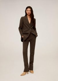 MANGO Check suit blazer in brown REF. 67090611-VICENTE-I-LM