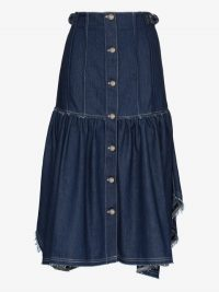 Chloé Blue Ruffled Frayed Cotton Denim Skirt | handkerchief hemlines