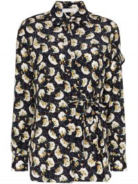 CHLOÉ tie-side floral print blouse in navy blue