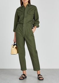 CITIZENS OF HUMANITY Marta dark green cotton jumpsuit – casual crop leg jumpsuits