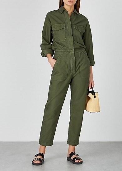 CITIZENS OF HUMANITY Marta dark green cotton jumpsuit – casual crop leg jumpsuits - flipped