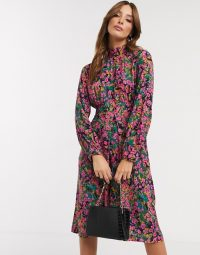 Closet London high neck puff sleeve midi dress in ditsy floral