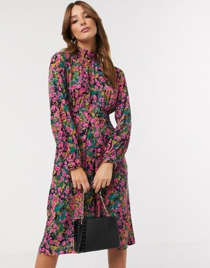 Closet London high neck puff sleeve midi dress in ditsy floral - flipped