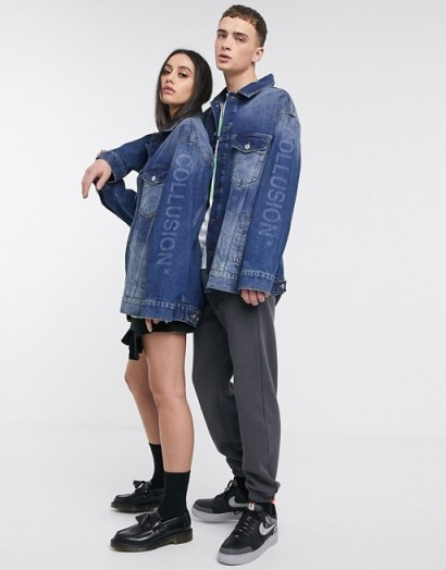 COLLUSION Unisex oversized branded denim jacket in blue – logo print jackets