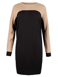 OLIVER BONAS Colour Block Knitted Jumper Dress | neutral sweater dresses