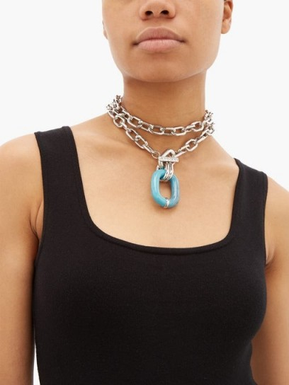 PACO RABANNE Coloured-link chain necklace ~ chunky necklaces