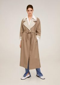 MANGO Contrast flaps trench in Beige