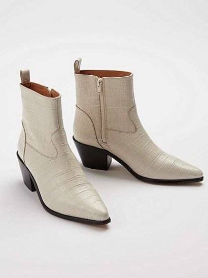 OLIVER BONAS Cowboy Moc Croc White Leather Ankle Boots - flipped