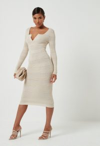 MISSGUIDED cream button front knitted midaxi dress