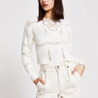 River Island Cream floral embroidered knitted jumper | pretty knits