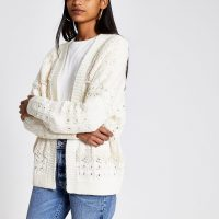 RIVER ISLAND Cream lace scallop frill knitted cardigan