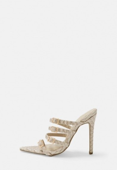 MISSGUIDED cream snake print multi strap buckle mules – going out heels - flipped
