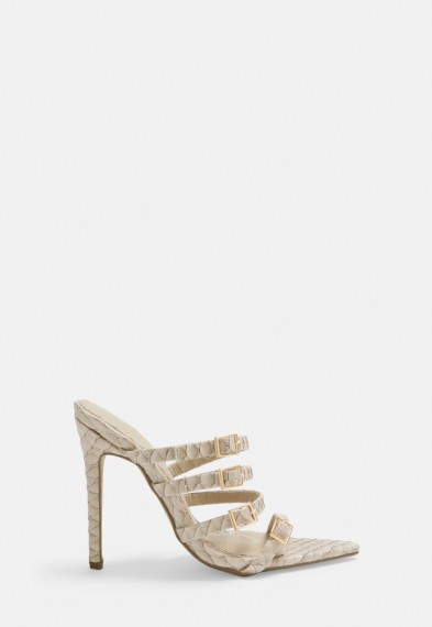 MISSGUIDED cream snake print multi strap buckle mules – going out heels