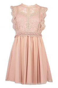 boohoo Crochet Lace Sleeveless Skater Dress in Blush – pretty fit and flare
